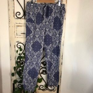 Victoria's Secret blue & yellow pajama joggers